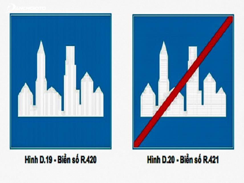 Biến báo hiệu khu đông dân cư và hết khu đông dân cư