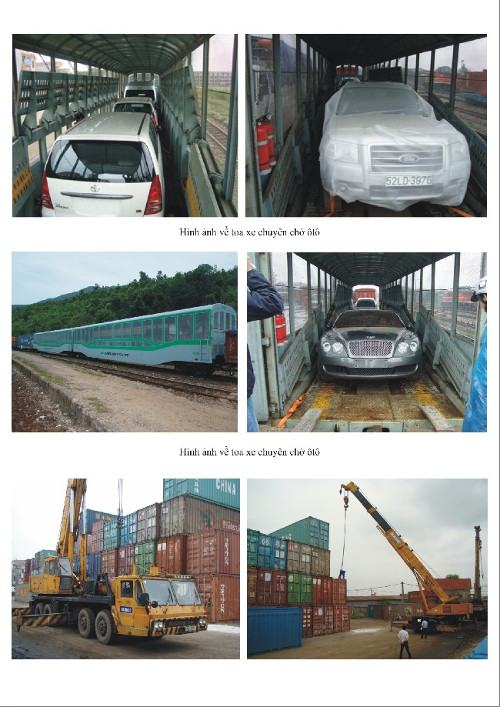 Các hàng hóa được gửi bằng tàu hỏa